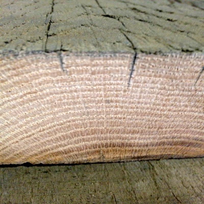 reclaimed red oak end-grain