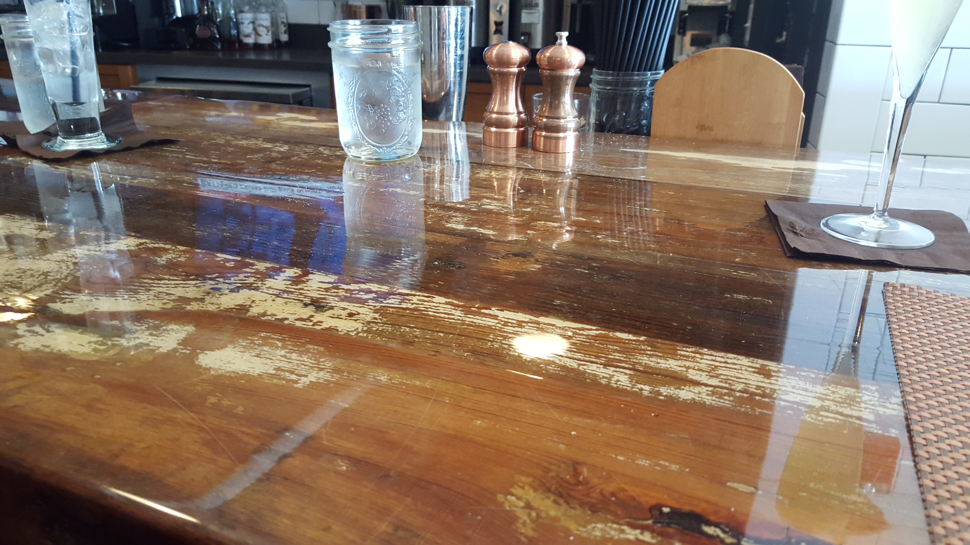 Painted Heart Pine Bar Top